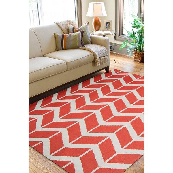 Hand-woven Orange Abada Wool Rug (5' x 8')