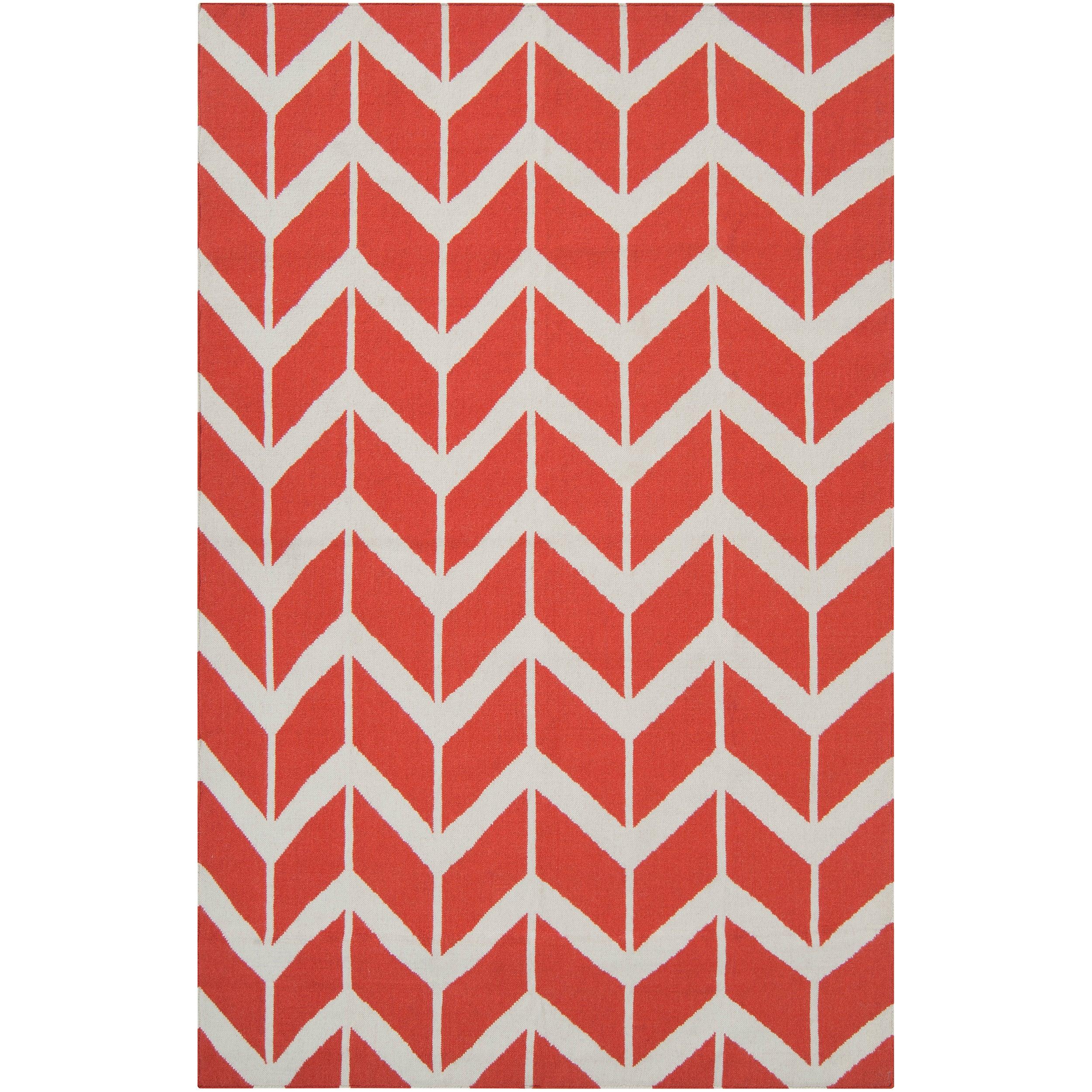 Hand-woven Orange Abada Wool Rug (3'6 x 5'6)