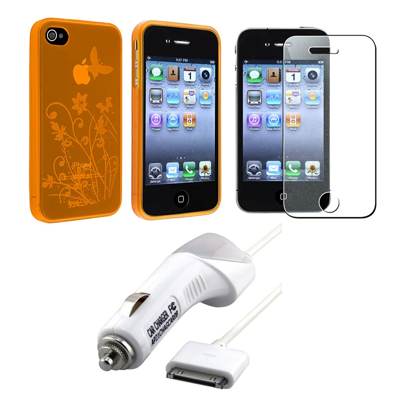 INSTEN TPU Phone Case Cover/ Screen Protector/ Car Charger for Apple iPhone 4S