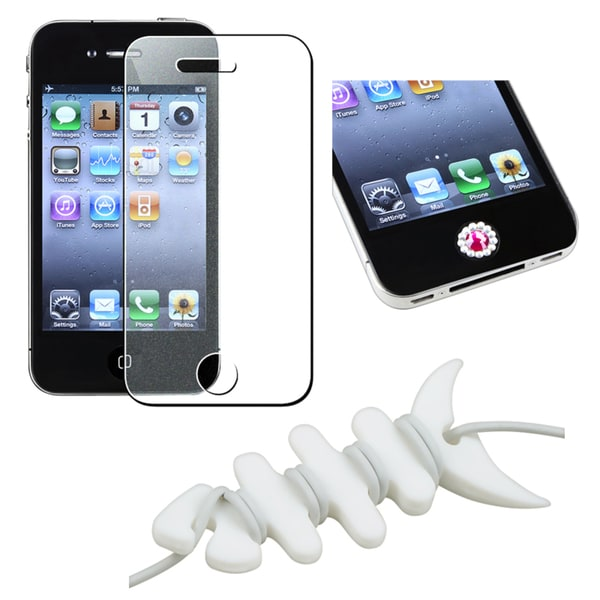 INSTEN Screen Protector/ Home Button Sticker/ Wrap for Apple iPhone 4S