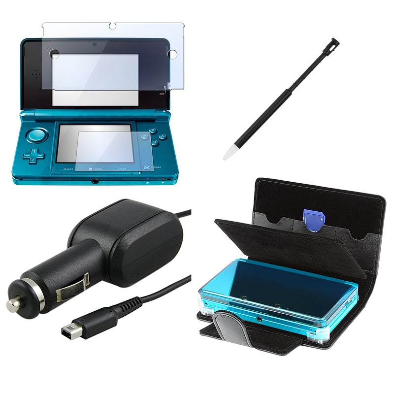 INSTEN NinDS 3DS - Leather Phone Case Cover/ Screen Protector/ Stylus/ Car Charger