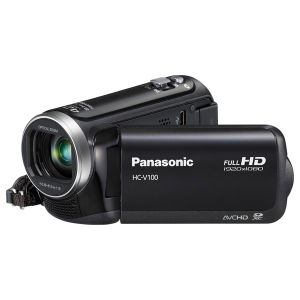 "Panasonic HC-V100 Digital Camcorder - 2.7"" LCD - MOS - Full HD - Blac"