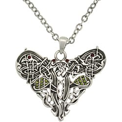 Carolina Glamour Collection Pewster Crystal Celtic Dragon Heart Necklace