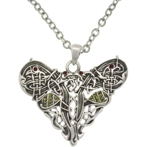 Pewster Crystal Celtic Dragon Heart Necklace
