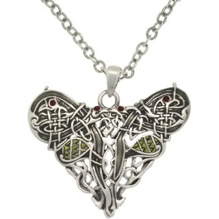 Pewster Crystal Celtic Dragon Heart Necklace