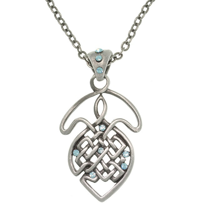 Carolina Glamour Collection Pewter Blue Crystal Celtic Knot Necklace