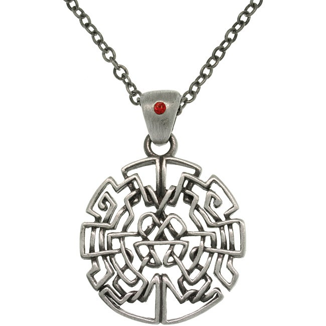 Carolina Glamour Collection Pewter Celtic Circle Maze Necklace with Red Crystal Accent