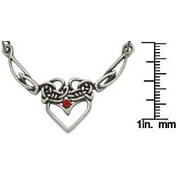 Carolina Glamour Collection Pewter Red Crystal Celtic Princess Heart Necklace