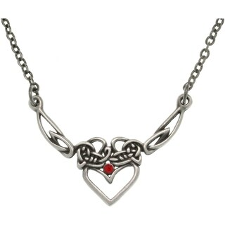 Pewter Red Crystal Celtic Princess Heart Necklace