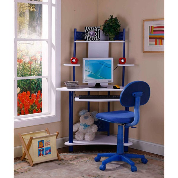 InRoom Blue-and-White Corner Desk