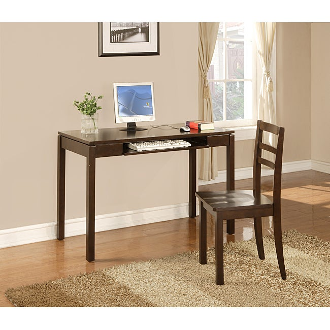 InRoom Espresso Desk and Chair Set