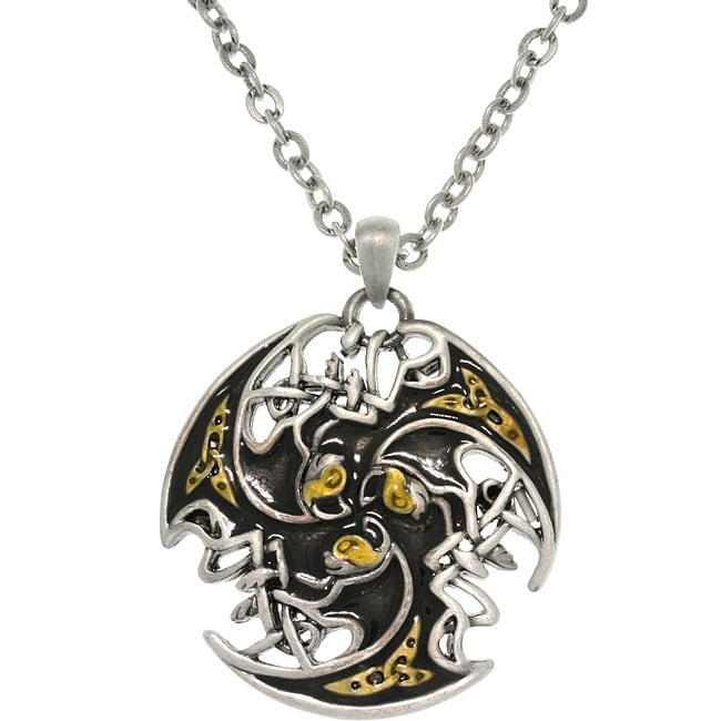 Carolina Glamour Collection Tri-color Pewter Unisex Celtic Lion Trinity Necklace - Thumbnail 0