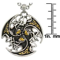 Carolina Glamour Collection Tri-color Pewter Unisex Celtic Lion Trinity Necklace - Thumbnail 2