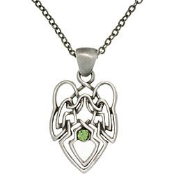 Carolina Glamour Collection Pewter Green Crystal Celtic Knot Angel Necklace|https://ak1.ostkcdn.com/images/products/6558758/CGC-Pewter-Green-Crystal-Celtic-Knot-Angel-Necklace-P14137689.jpg?impolicy=medium