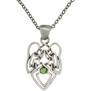 Pewter Green Crystal Celtic Knot Angel Necklace