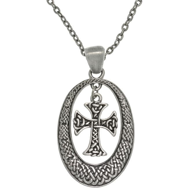 Carolina Glamour Collection Pewter Unisex Celtic Knot Oval and Cross Necklace