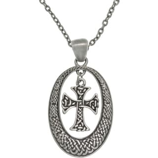 Pewter Unisex Celtic Knot Oval and Cross Necklace