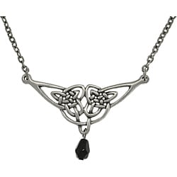 Carolina Glamour Collection Pewter Black Acrylic Bead Celtic Knotwork and Teardrop Necklace
