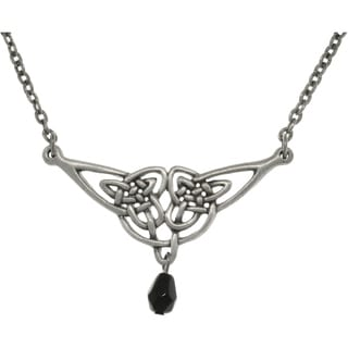 Pewter Black Acrylic Bead Celtic Knotwork and Teardrop Necklace