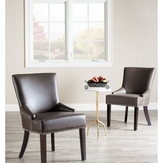 Safavieh En Vogue Dining Loire Grey Leather Nailhead Dining Chairs (Set of 2)