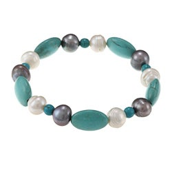 La Preciosa Turquoise Oval Beads with White and Grey Pearls Stretch Bracelet