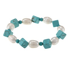 La Preciosa Turquoise Square Beads with White Pearls Stretch Bracelet