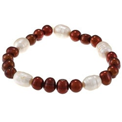 La Preciosa Bronze and White Pearl Stretch Bracelet
