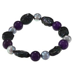 La Preciosa Blue Oval Beads with Purple and Grey Pearl Stretch Bracelet