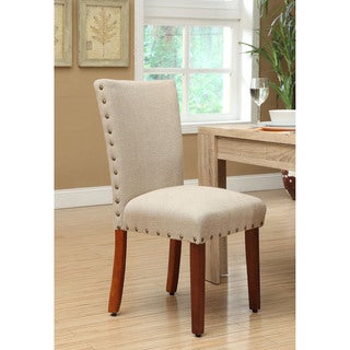 HomePop Tan Linen and Wood Nail-head Parsons Chair (Set of 2)
