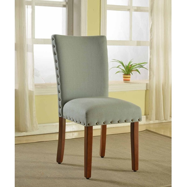 HomePop Sea Foam Nail Head Parsons Chairs (Set of 2)