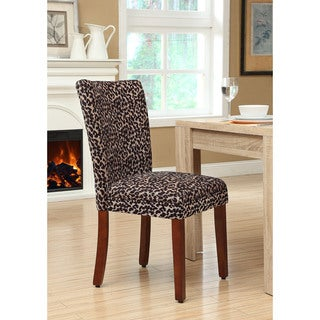 HomePop Leopard Chenille and Wood Parsons Chair (Set of 2)
