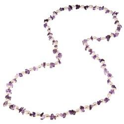 La Preciosa 36-Inch Amethyst Beads and White Pearl Necklace