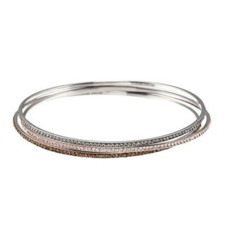 La Preciosa Sterling Silver Crystal 3-piece Stackable Bangle Bracelet Set