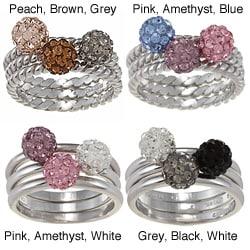 La Preciosa Sterling Silver Crystal Ball 3-piece Stackable Ring Set
