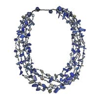Handmade Sea Blue Lapis Five-layer Beauty Cotton Rope Necklace (Thailand)