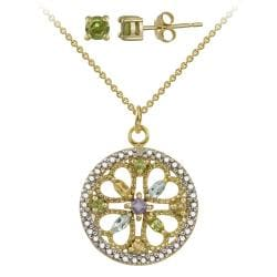 Glitzy Rocks Two-Tone Diamond Accent Multi-Gemstone Four Leaf Clover Necklace And Earrings Set