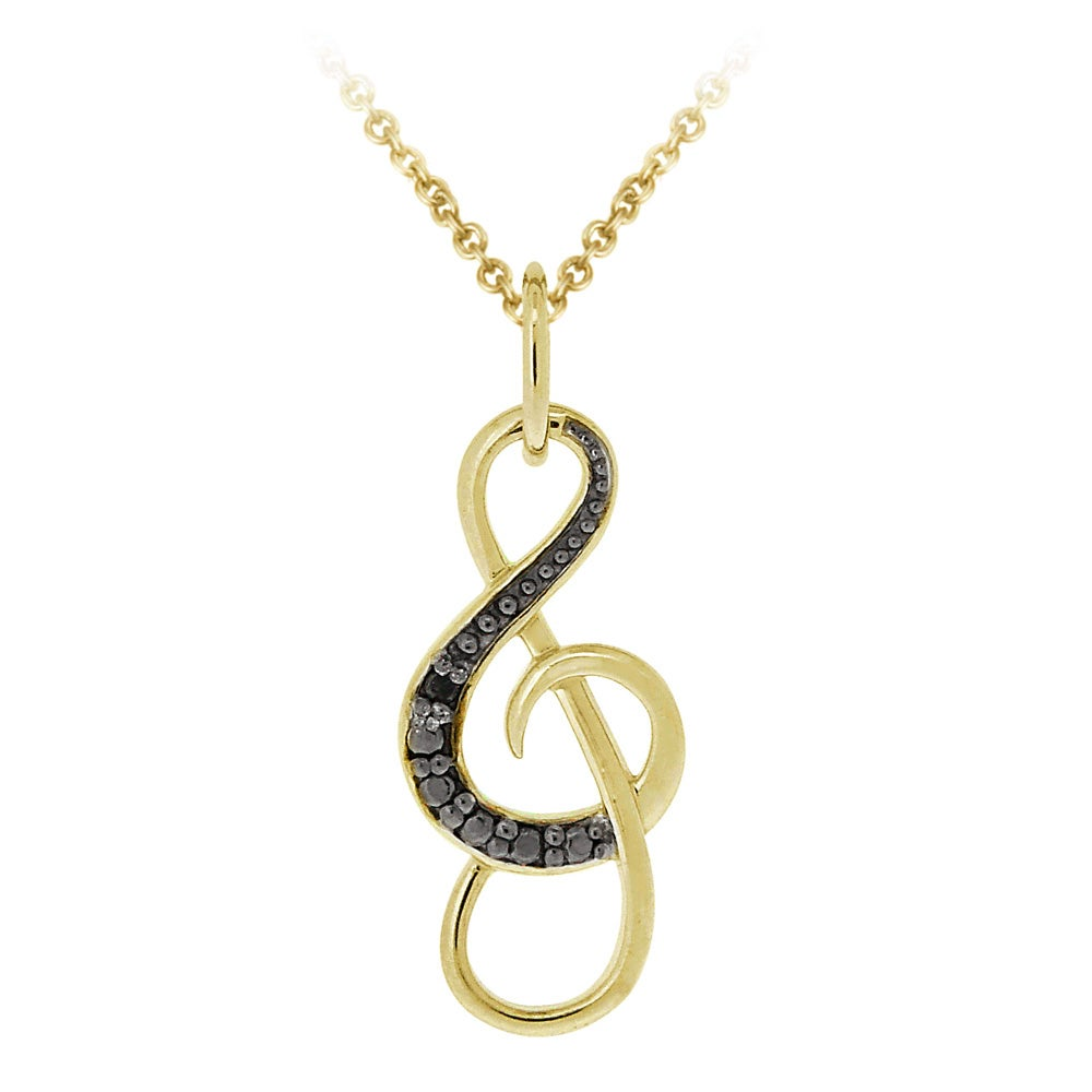DB Designs 18k Yellow Gold Over Silver Black Diamond Accent Musical Note Necklace