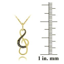 DB Designs 18k Yellow Gold Over Silver Black Diamond Accent Musical Note Necklace - Thumbnail 2