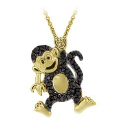 DB Designs 18k Yellow Gold Over Silver Black Diamond Accent Playful Monkey Necklace