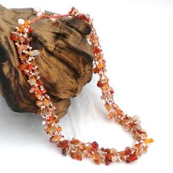 Handmade Autumn Sunset Orange Carnelian Five-layer Beauty Cotton Rope Necklace (Thailand)