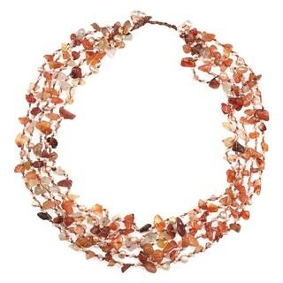 Handmade Autumn Sunset Orange Carnelian Five-layer Beauty Cotton Rope Necklace (Thailand)