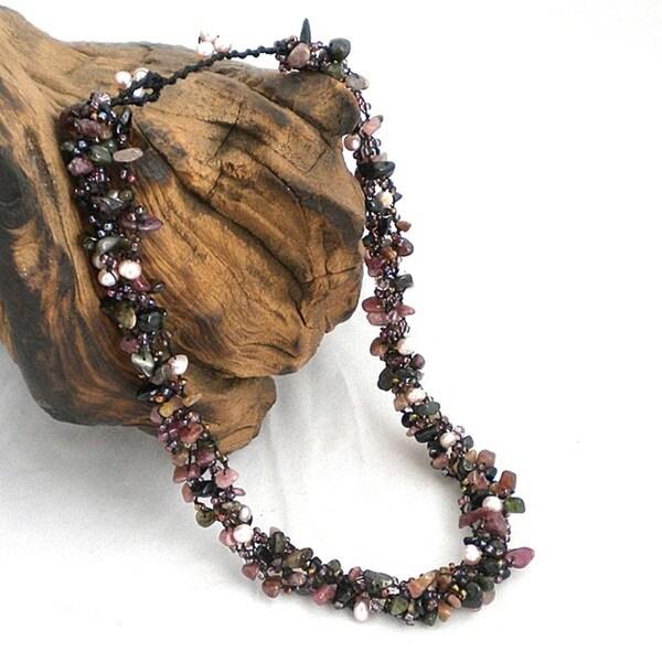 Royal Purple Tourmaline Five-layer Beauty Cotton Rope Necklace (Thailand)