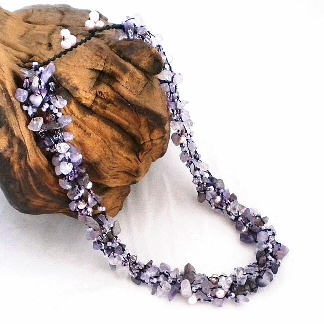 Subtle Purple Amethyst Five-layer Beauty Cotton Rope Necklace (Thailand)
