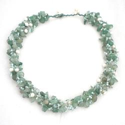 Green Nature Aventurine Five-layer Beauty Cotton Rope Necklace (Thailand) - Thumbnail 1