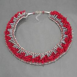 Handmade Red Coral Treasures Silver Crystal Dramatic Sterling Silver Necklace (Thailand)
