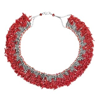 Handmade Treasures Synthetic Coral Dramatic Necklace (Thailand)