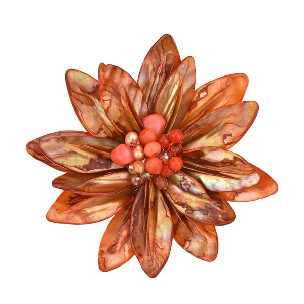 Handmade Pretty Orange Water Lily Mother of Pearl Pin-Brooch (Thailand). Opens flyout.