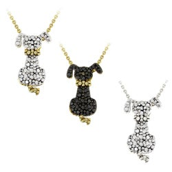 DB Designs 18k Yellow Gold Over Silver Black Diamond Accent Dog Necklace