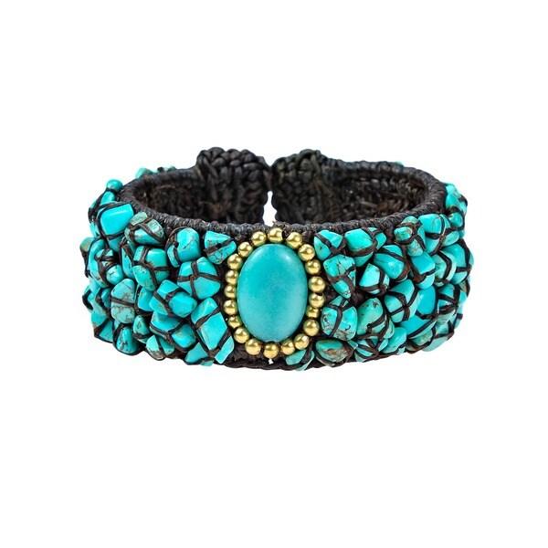 Handmade Three Ovals Mosaic Turquoise Cotton Rope Cuff (Thailand)