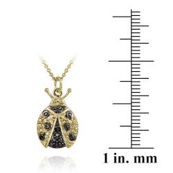 DB Designs 18k Yellow Gold Over Silver Black Diamond Accent Lady Bug Necklace - Thumbnail 2